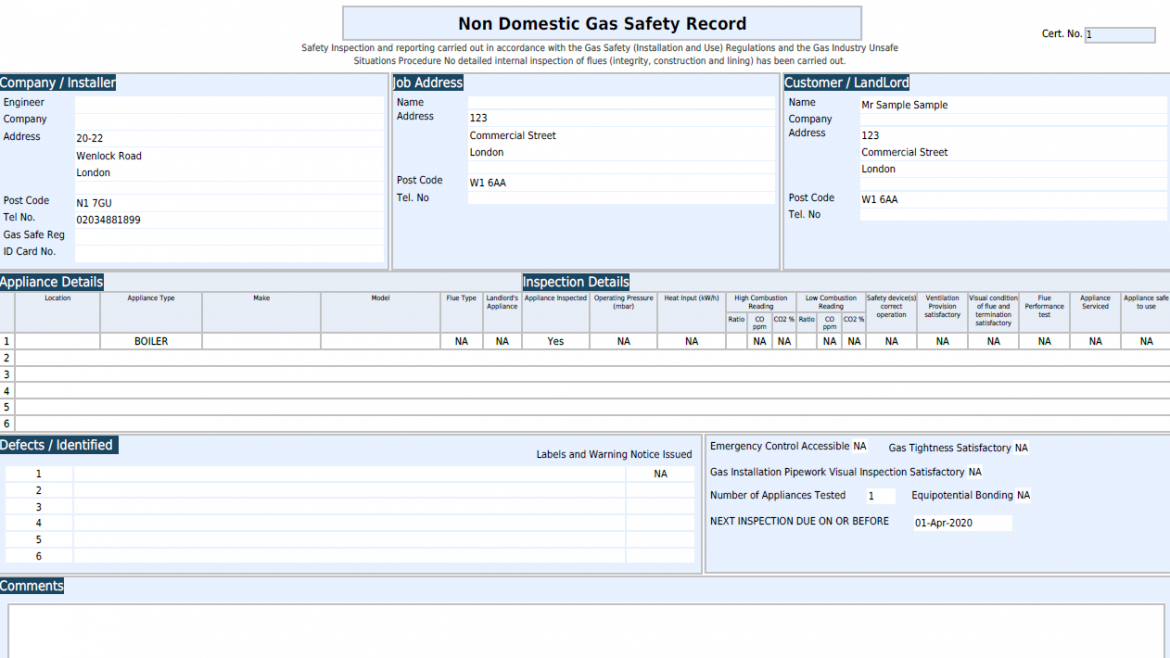 Commercial Gas Certificates